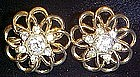 Vintage goldtone earrings with crystal rhinestones