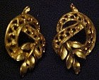 Goldtone leaf and ribbon earrings, post back