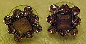 Amethyst rhinestone earrings, posts