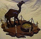 Vintage hand carved  wood camel  with  ashtray