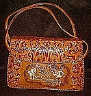 Vintage handmade leather purse, Mandalay, Burma