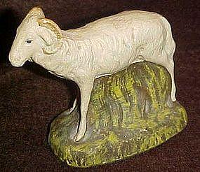 Older chalk  nativity figurine, sheep / ram