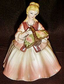Lefton lady with basket planter  figurine #1684A