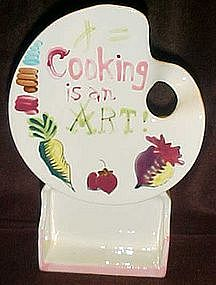 Vintage artist's pallete, Cooking is an art wall pocket