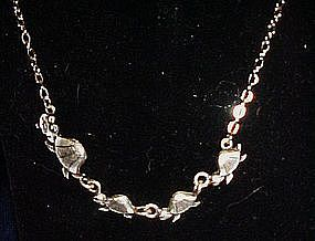Silvertone mama and baby  turtles,  chain necklace