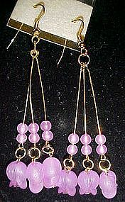 Pretty fuschia  beads dangle earrings, pierced