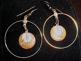 Enamel over copper hoop earrings, pierced