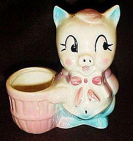 Vintage pig planter,toothpick holder, pincushion