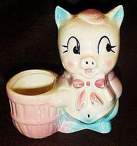 Vintage pig planter,toothpick holder, pincushion