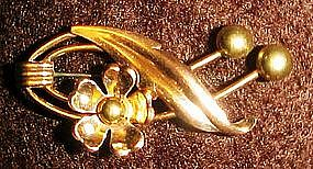 Vintage 12kt GF Van Dell gold flower pin