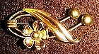 Vintage 12kt GF Van Dell gold flower pin