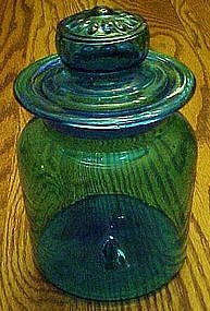 hand blown turquoise cannister, Blenko?