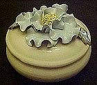 Vintage ceramic powder jar with blue flower top