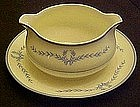 WS George gravy boat / underplate, blue laurel garland