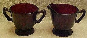 Anchor Hocking Royal Ruby creamer and sugar