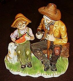 Grandpa and Grandson country figurine