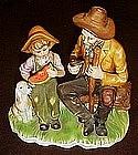 Grandpa and Grandson country figurine
