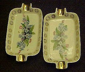 Two Norcrest mini ashtrays with blue flowers