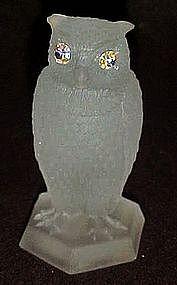 White frosted satin owl figurine aurora rhinestone eyes