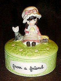 Joan Walsh Anglund ceramic trinket box, From a Friend