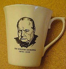 Sir Winston Churchill commemorative mug, bone china