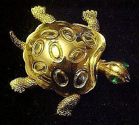 Gold tone turtle tortoise pin with rhinestone eyes
