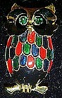 Colorful enamel owl pin with rhinestone eyes
