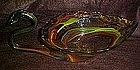 hand blown art glass swan dish / bowl