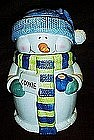 Snow man cookie jar with knit hat and scarf
