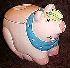 Pink pig with butterfly on nose cookie jar, Coco Dowley