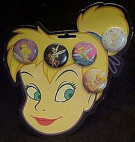 Tinkerbell buttons on original card,Tinkerbell head