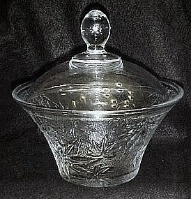 Pressed pattern glass covered dish, maple or marijuana