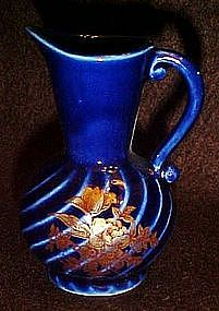 Chadwick mini ewer vase, cobalt blue with decoration