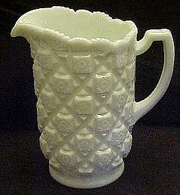 "Westmoreland  milk glass Old Quilt 8 1/4"" water pitcher"