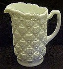 "Westmoreland  milk glass Old Quilt 8 1/4"" water pitcher"