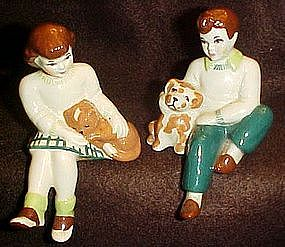 Ceramic Arts Studio sitting boy & puppy & girl with cat