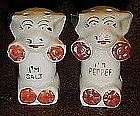 Mini Bonzo dog salt and pepper shakers, Rare size 1 7/8