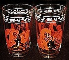 """Swanky swig orange rooster and dog  kiddie kup 3 3/4"""""""