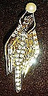 PS Co. Erte deco style  rhinestone angel lady pin
