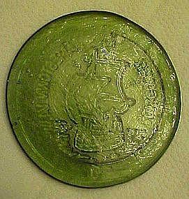 Jamestown Glassworks souvenir  flat paperweight