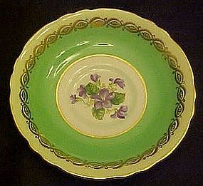 Paragon replacement saucer, green with violets center