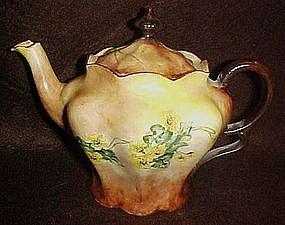 Hand painted porcelain teapotyellow flowers and vines