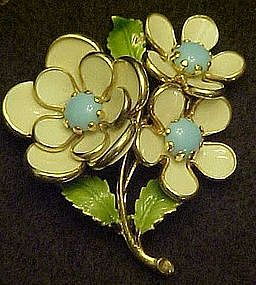 Enamel blue and white flower pin