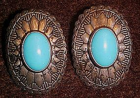 Southwestern style Sterling earrings with turquoise