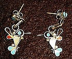 Vintage sterling silver hummingbird earrings, turquiose