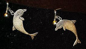 Vintage sterling silver dolphin  clip earrings