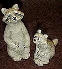 Quarry critters raccoons  figurine pair