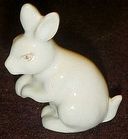 Mini bunny rabbit figurine, glazed porcelain