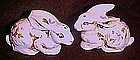 Floral decorated bunny rabbit salt and pepper shakers