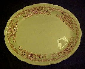 Walker oval  restaurant platter w/ red transfer border